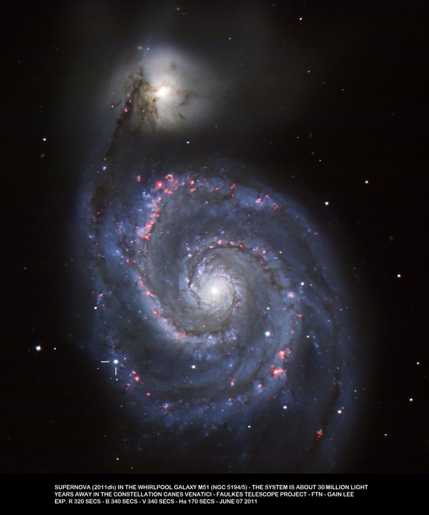 Image of supernova SN2011dh in the face on spiral galaxy M51, also known as the Whirlpool Galaxy